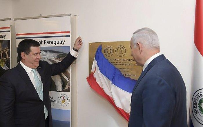 Президент Парагваю Орасіос Картес і прем'єр-міністр Ізраїлю Бенджамін Нетаньяху відкрили нове посольство Парагваю в Єрусалимі, 21 травня 2018