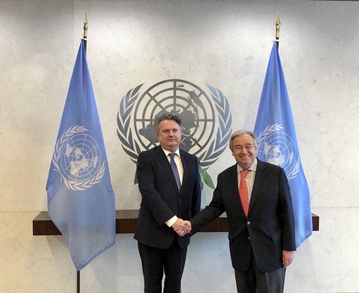 Постоянный представитель Украины при ООН Сергей Кислица и Генеральный секретарь ООН Антониу Гутерриш