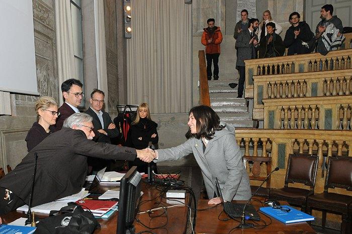 Елеонора Сакко у день захисту диплома в Павії.