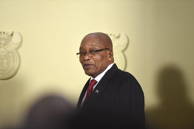Президент Южной Африки Джейкоб Зума во время национального телевизионного выступления, на котором он подал в отставку, Претория, Южная Африка, 14 февраля 2018 .