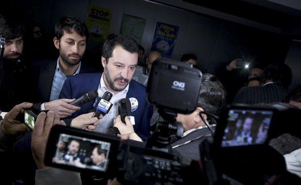 Лидер ЛИГИ СЕВЕРА Маттео Сальвини во время предвыборной кампании в Кальвиццано, Италия, 21 февраля 2018.