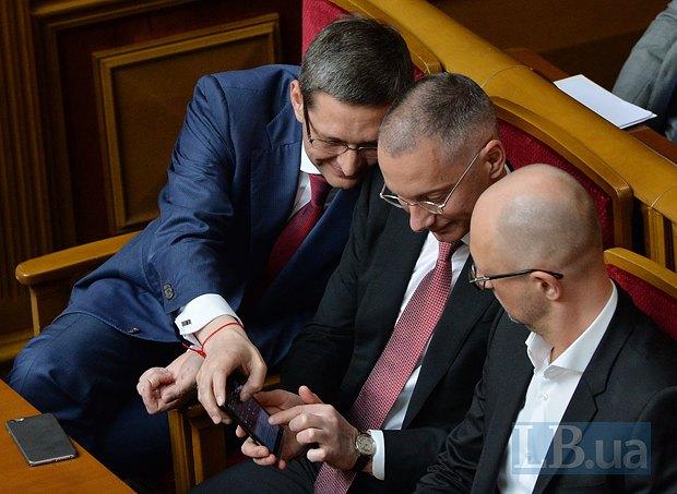 Виталий Ковальчук, Борис Ложкин и Арсений Яценюк в парламенте