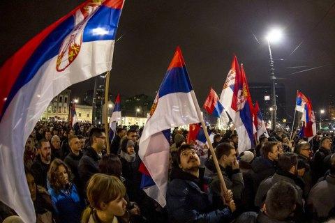 В Белграде прошла многотысячная антиправительственная акция