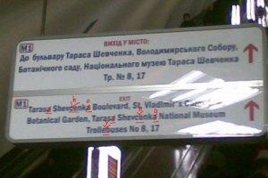 Київський метрополітен виправить помилки на англомовних табличках
