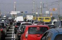 Киев остановился в многокилометровых пробках