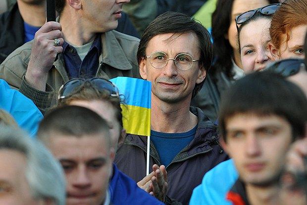 Учасник мітингу за єдину Україну в Донецьку
