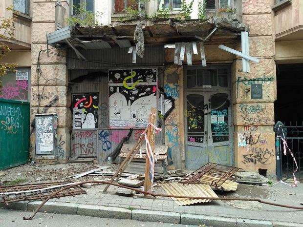 Вцентре украинской столицы обрушился балкон