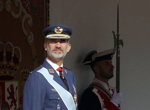 Король Испании Фелипе VI во время празднования Национального дня Испании, 12 окт. 2017.