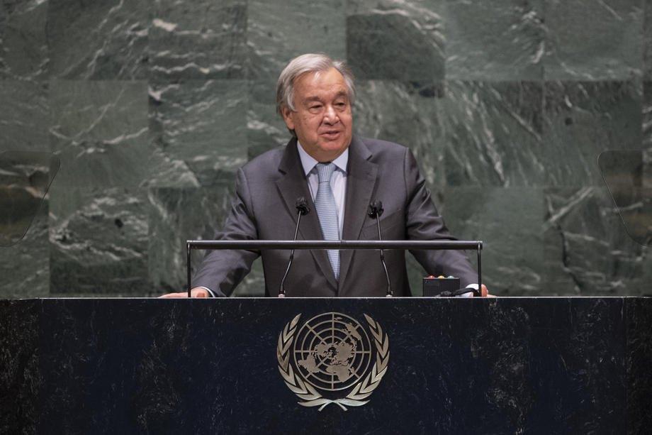 Антоніу Гутерріш виступає на 75-й Генасамблеї ООН в Нью-Йорку, 22 вересня 2020 р.