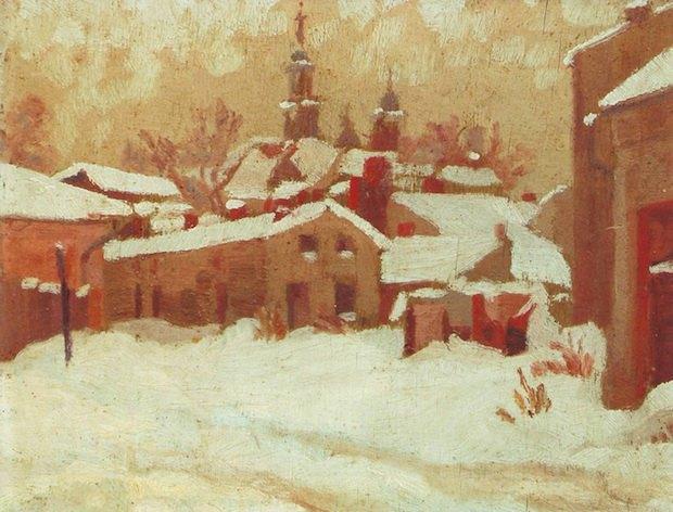 «Станіславів зимою». 1947. Олія, полотно.