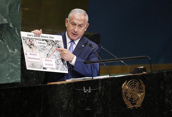 Нетаньяху демонстрирует в ООН нарушения Ираном ядерного соглашения. 27 сентября 2018 года
