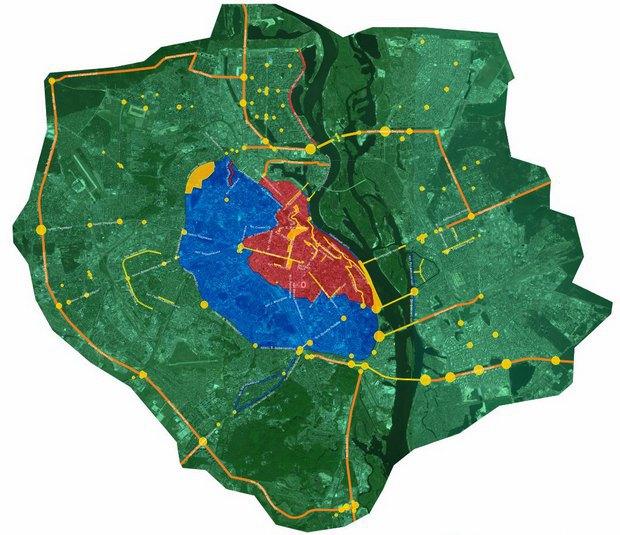 Желтый цвет - зона 0, красный - зона 1, синий - зона 2, зеленый - зона 3, оранжевый - зона 4