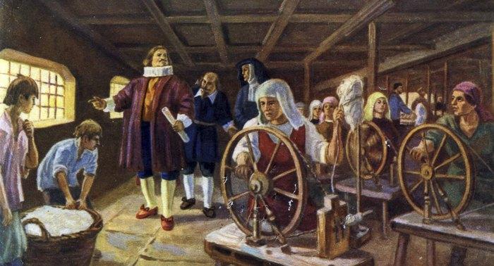 Прядильня, английская мануфактура XVI века.