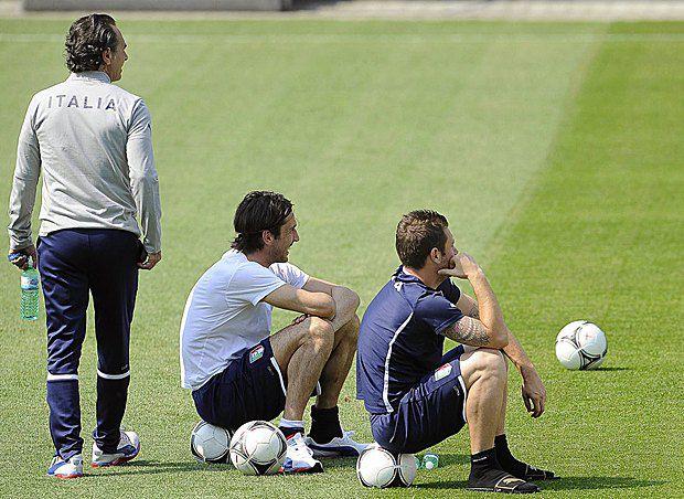 Игроки итальянской сборной во время тренировки