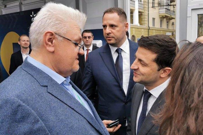 Сергей Сивохо, Владимир Зеленский, Андрей Ермак во время форума в Мариуполе