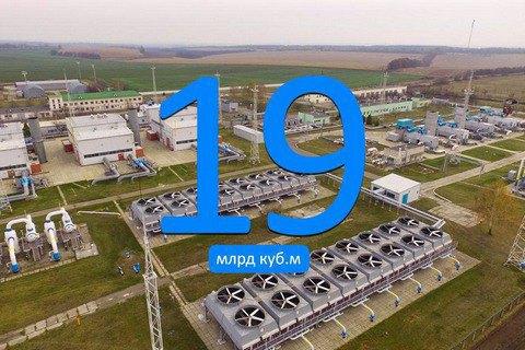 Запаси газу в українських сховищах перевищили 19 млрд кубометрів