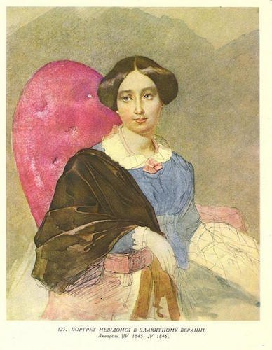 Портрет невідомої  у блакитному вбранні. Акварель. 1843