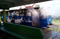 В Дружковке Донецкой области загорелся трамвай с пассажирами