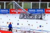 Кубок мира по биатлону в Ханты-Мансийске завершили досрочно из-за падения осветительной мачты
