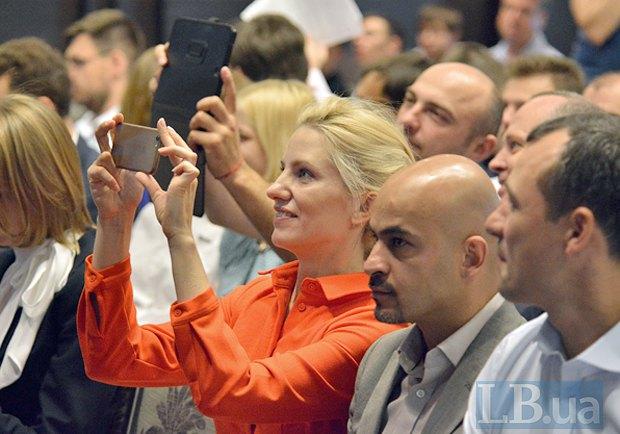Світлана Заліщук, Мустафа Найєм та Василь Гацько під час з'їзду партії *Демократичний альянс*, 09 липня 2016.
