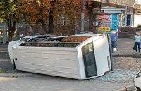 В центре Днепра пьяный водитель Hyundai  влетел в маршрутку с пассажирами