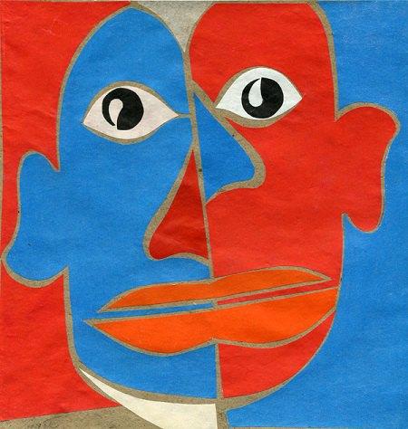 Портрет Пікассо. 1921. Картон, кольоровий папір, колаж. 22х21
