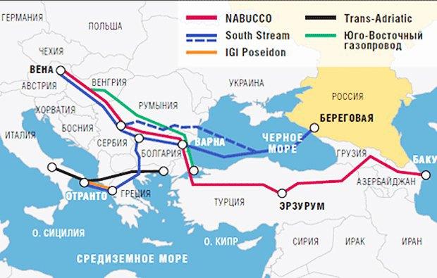 Черной линией обозначен Трансадриатический газопровод