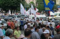 """Акция """"Вставай, Украина!"""" в Донецке стартовала: активисты парализовали движение транспорта"""