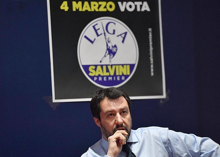 Кандидат на посаду прем'єра Маттео Сальвіні від Lega Nord під час виборчої кампанії в Мілані