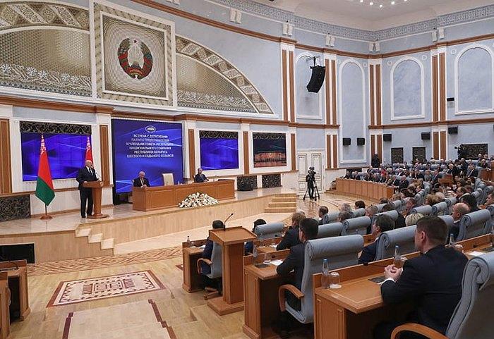 Лукашенко во время обращения к депутатам Палаты представителей и членам Совета Республики Национального собрания, 5 декабря