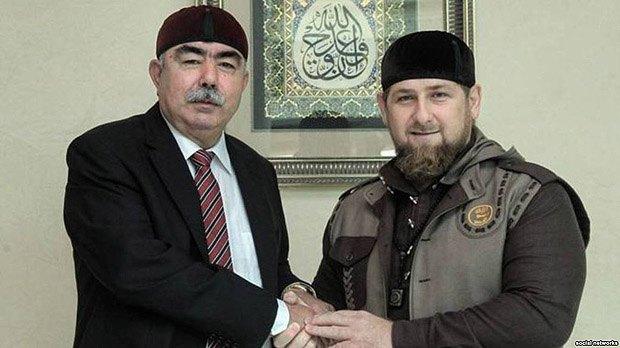 Кадыров принимает вице-президента Афганистана генерала Дустума, Чечня, 5 октября 2015.