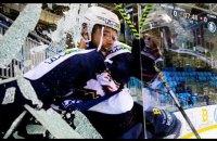 На чемпионате Венгрии хоккеист, празднуя гол, разбил защитное стекло и вылетел за пределы площадки