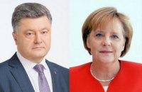Порошенко обсудил с Меркель ситуацию на Донбассе и вопрос обмена заложниками