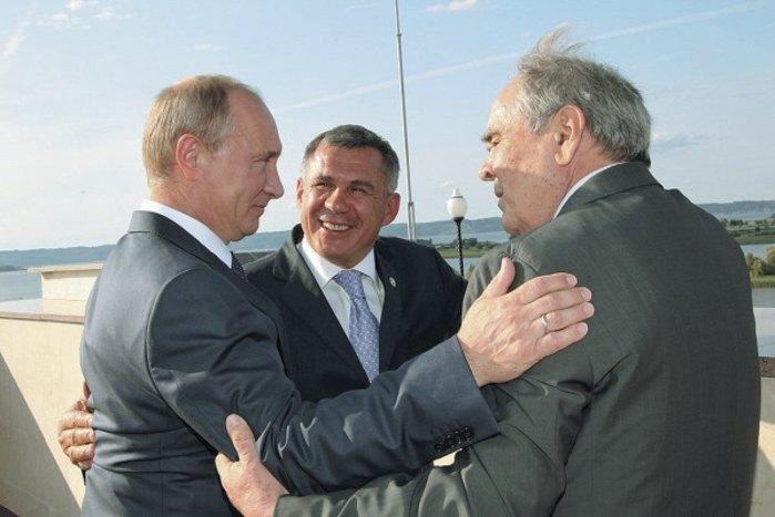 Президент Росії Володимир Путін, Рустам Мінніханов та Мінтімер Шаймієв
