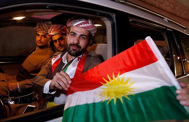 Курды после голосования на референдуме о независимости Курдистана, Эрбиль, Ирак