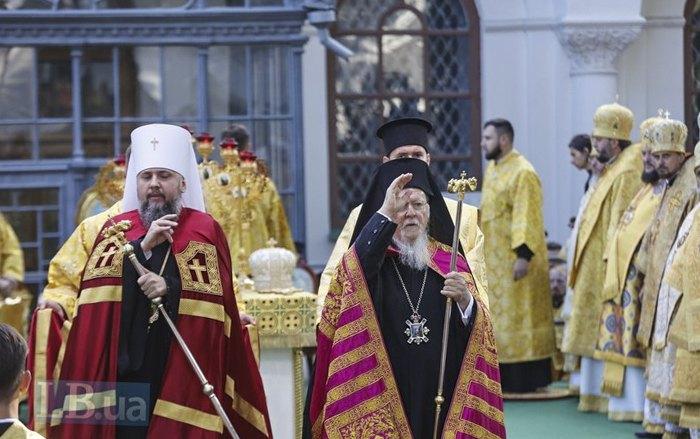 Патріарх Варфоломій і митрополит Епіфаній під час літургії у Софії Київській. Київ, 22 серпня 2021 року.