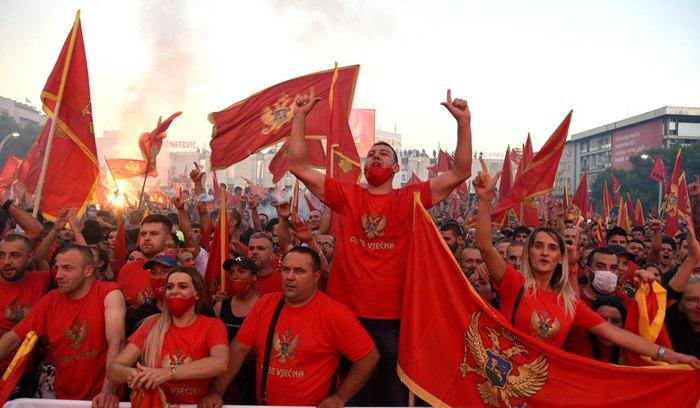 Патриотический митинг в Подгорице, Черногория, 6 сентября 2020 г.