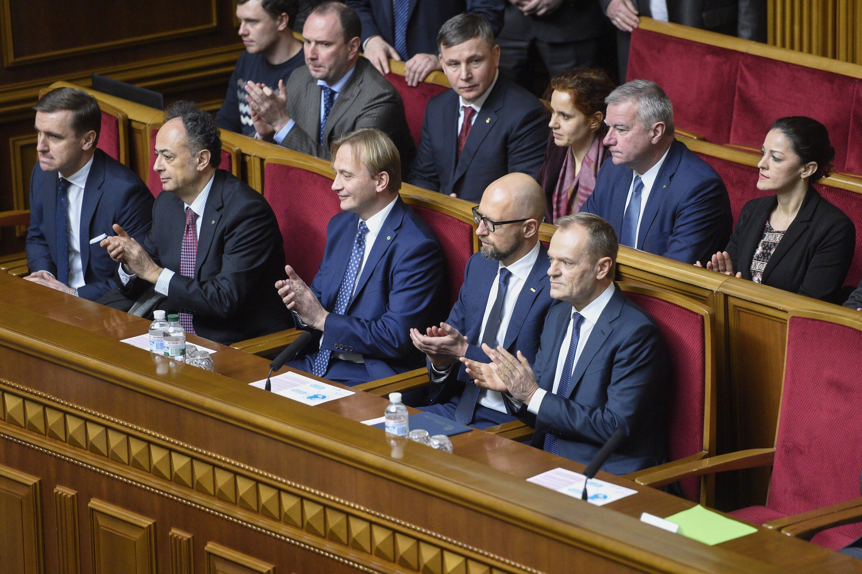 Президент Евросоюза Дональд Туск на заседании Верховной Рады