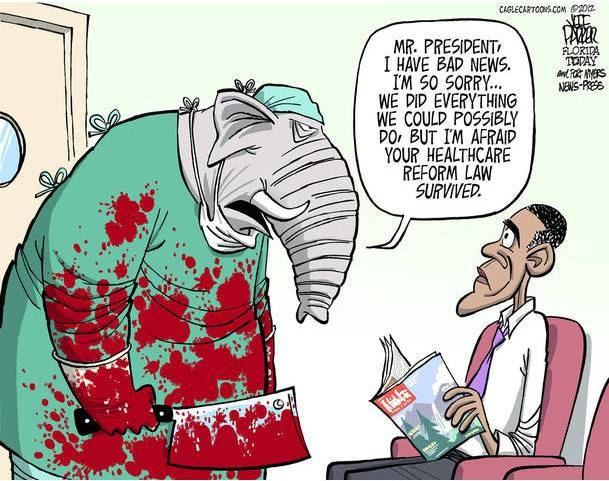 """На карикатуре слон (символ республиканцев) говорит демократу-Обаме: """"Сэр, мы делали все возможное, но ваша реформа все равно выжила"""""""
