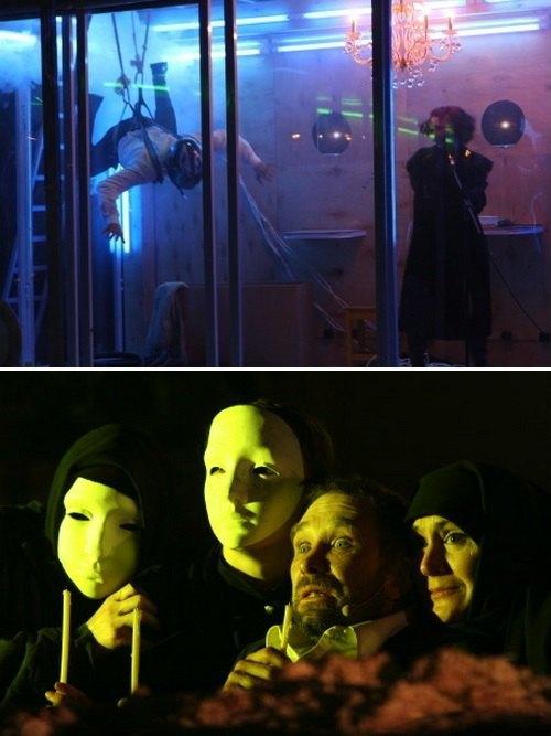 Згори - фото з вистави «Войцек», знизу - «Ленін love. Сталін love»