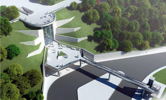 Обзорная площадка с пешеходным мостом через Парковую дорогу (возле Мариинского дворца)