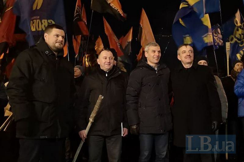 Андрей Ильенко, Юрий Сиротюк, Руслан Кошулинский и лидер КУН Степан Брацюнь