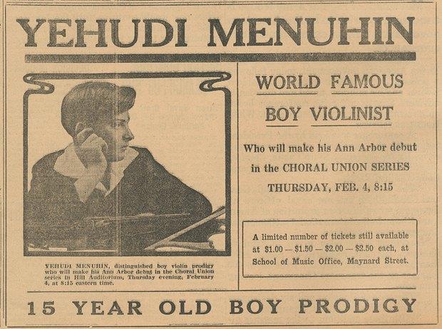 Вырезка с объявлением о концерте 15-летнего Менухина