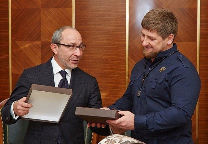 Мэр Харькова Геннадий Кернес и Рамзан Кадыров во время встречи в Грозном, 5 октября 2013.