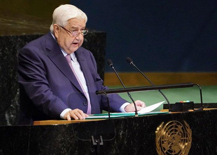 Заместитель премьер-министра Сирии и министр иностранных дел Валид Аль Муалем выступает с обращением к Генеральной Ассамблее ООН