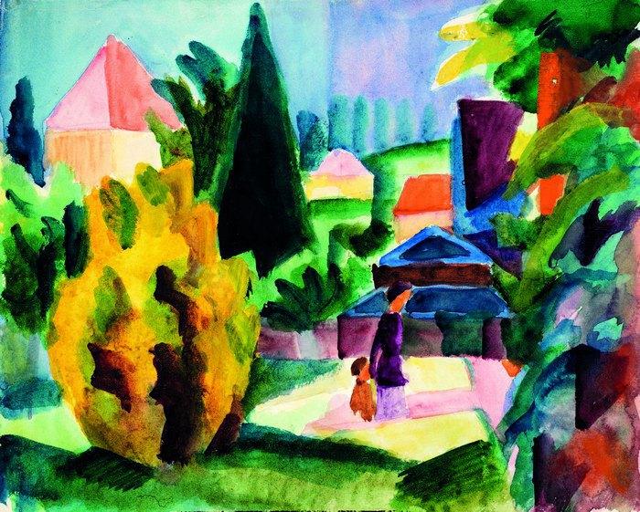 "Аугуст Макке, ""В саду палацу в Обергофені"", 1914"