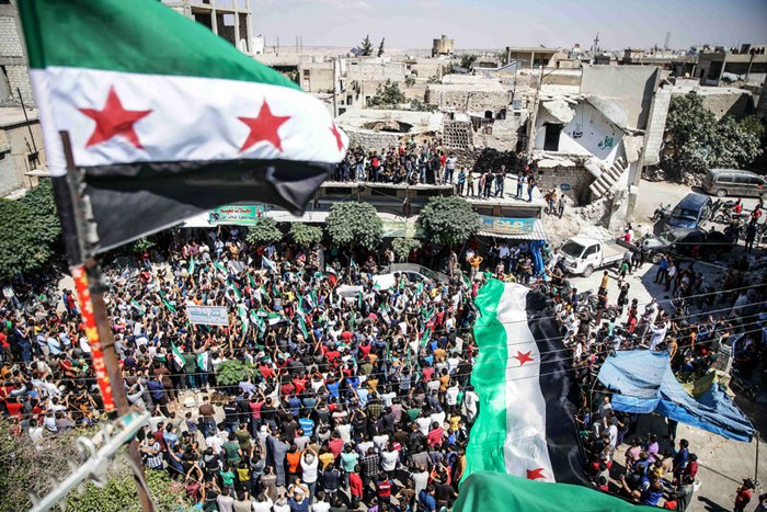 В сирийской провинции Идлиб прошли акции протеста против возможной операции режима Башара Асада и его союзников, 14 сентября 2018.