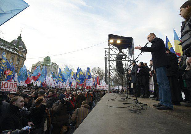 Яценюк и Тягнибок акцию проводят без участия Кличко