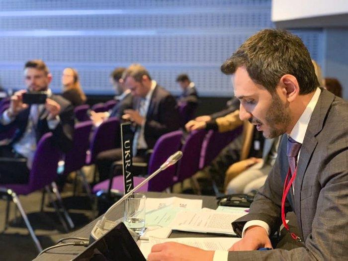 Егор Чернев во время доклада на Парламентской ассамблее НАТО о применении экономических санкций против стран-агрессоров, 12 октября 2019