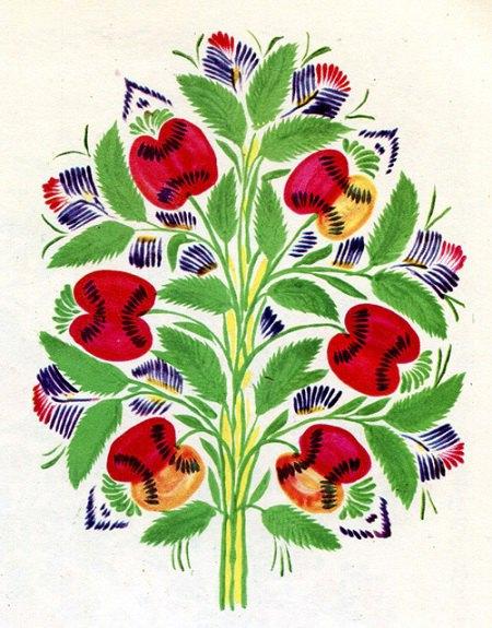 """Декоративний розпис """"Яблука"""".1963. 40Х30"""